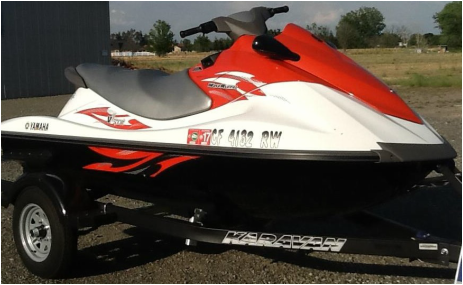 Yamaha 3 person jet ski on trailer