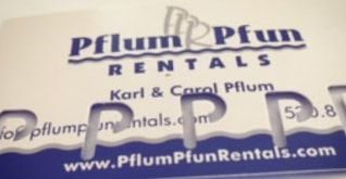 Pflum Pfun Rental's new punch card! Get 5 punches from renting water fun rentals and get the 6th free!