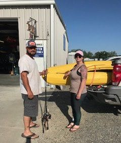Our first free rental customers! Saul and Danielle got a free full kayak rental by getting 5 hole punches on our new punch cards